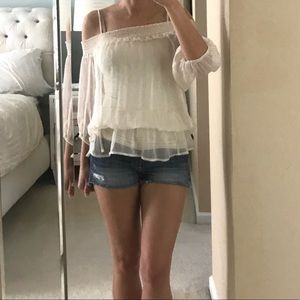 NWOT XOXO Ivory Peasant Cold Shoulder Blouse Small